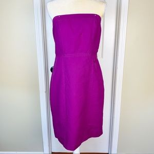 Merona Plum Linen Blend Strapless Mini Dress Sz 10